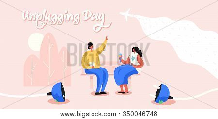 Unplugging Day Horizontal Banner. Man And Woman Having Good Time In Real Life.