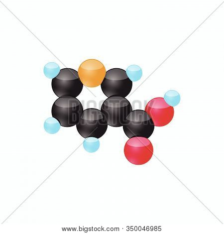 The Molecule Of Vitamin B12 (methylcobalamin). Vector Illustration In 3d Style, Isolated On White Ba