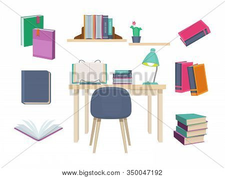 Books Old. Learning Symbols Publishing Dictionary Magazines School Books History Novel Vector Set. D