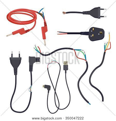 Damaged Cord. Electrical Cables Cut Lose Signal Break Plug Vector Cartoon Set. Power Cable Break Ele