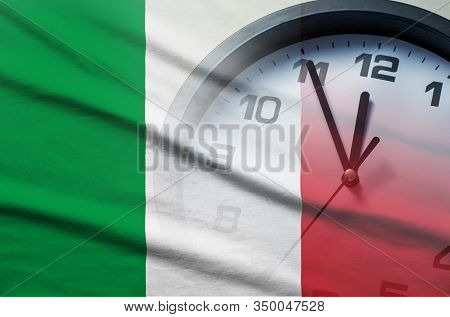 Italian Flag With Dial Of A Clock