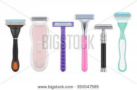 Blades Realistic. Man And Woman Razor Tools Depilation Accessories Vector Pictures Set. Equipment Ra
