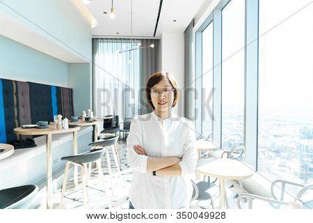 portrait of female in restaurant