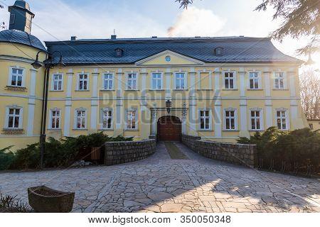 Chalupki, Poland - January, 19, 2019: Chateau In Chalupki Village In Poland Near Boders With Czech R