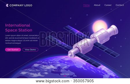 International Space Station Isometric Landing Page, Satellite Or Spaceship Orbiting Earth In Starry