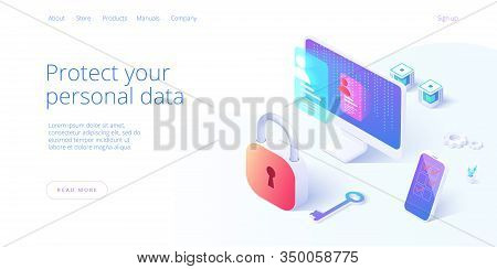 Personal Data Security In Isometric Vector Illustration. Online File Server Protection System Concep