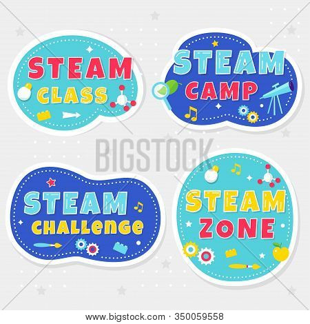 Steam Class, Camp And Zone Colorful Stickers Or Banners For Kids Playrooms And School Spaces. Vector