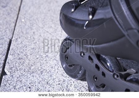Black Freestyle Roller Skates. No People. Copy Space