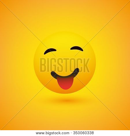 Smiling Emoji With Stuck Out Tongue - Simple Happy Emoticon On Yellow Background - Vector Design