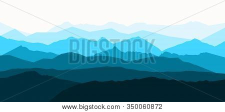 Panorama Vector Illustration Of Mountain Ridges. Atmospheric Perspective.