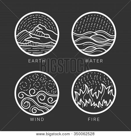 Collection Of 4 Element Earth, Water , Wind , Fire With White Abstract Circle Line Border Sign On Bl