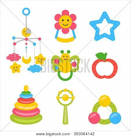 Childrens Toys - Rattles Plastik, Baby Mobile Toy On The Bed, Rodent For Newborns. Vector Illustrati