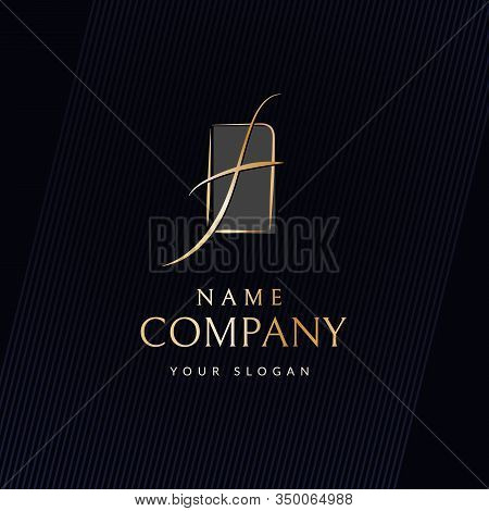 Brand Luxury Logo Curved Wavy Golden Line In The Shape Of The Letter F Trademark Logo In The Frame F
