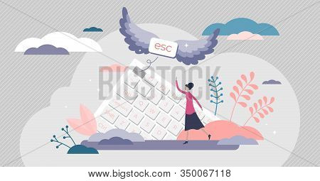Escape Button Creative Concept, Flat Tiny Person Vector Illustration. Leaving Work And Going To Vaca