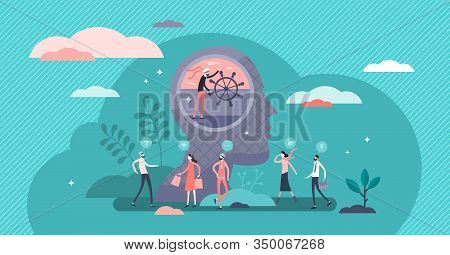 Self Control Concept, Flat Tiny Person Vector Illustration. Symbolic Thought Process Steering And In