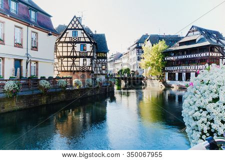 Traditional Houses On Beautiful Canals In La Petite France Medieval Fairytale Town Of Strasbourg, Un