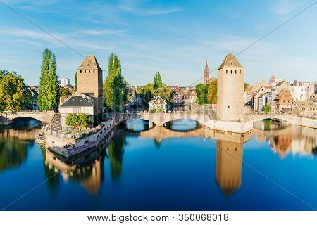 Petite France, Strasbourg, Medieval Bridge Ponts Couverts Is Located In The Historic District  Alsac