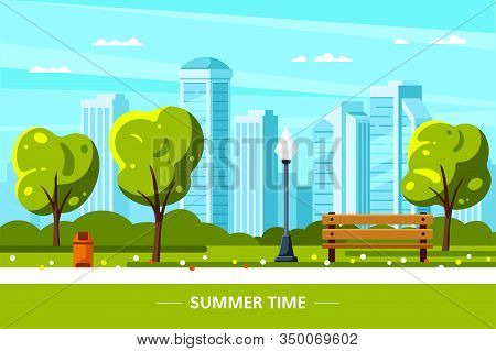 Bench In Park, Streetlight And Trees, Summer Background
