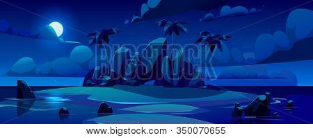 Night Tropical Island In Ocean With Palm Trees, Rocks And Moon In Sky. Vector Cartoon Illustration O