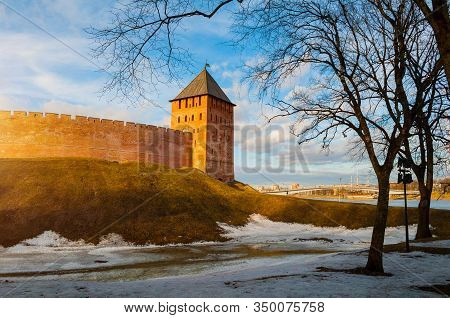 Veliky Novgorod, Russia. Palace Tower Of Kremlin Fortress In Early Spring Evening In Veliky Novgorod