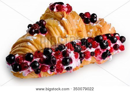 Croissant Sandwiche With Berries Isolated On A White Background