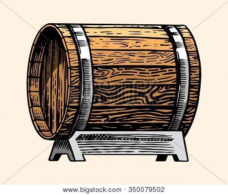 Wooden Oak Barrel Or Cask With Alcohol. Vessel With Wine, Brandy Or Whiskey In Vintage Style. Hand D