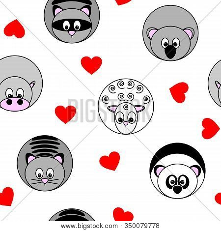 Cute Seamless Pattern With Vector Illustrations Of Round Animals And Red Hearts, Separated From Back