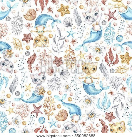Watercolor Cat Mermaid Seamless Pattern In Cartoon Style. Creative Nursery Background Print. Cute Ba