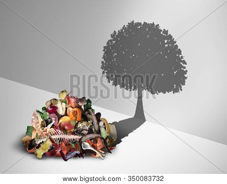 Compost Recycling And  And Composted Soil Cycle As A Composting Pile Of Rotting Kitchen Scraps With