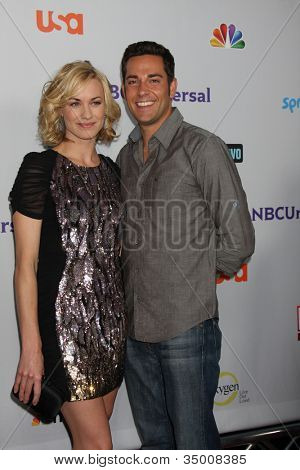 LOS ANGELES - AUG 1: Yvonne Strahovski, Zachary Levi arriving at the NBC TCA Summer 2011 Party at SLS Hotel on August 1, 2011 in Los Angeles, CA