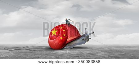 Slow China Economy And Chinese Economic Slowing Of Business Growth As An Asian Financial Challenge O