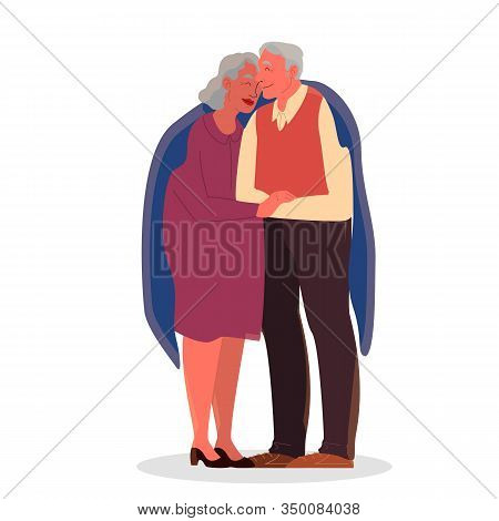 Old Couple Hug Each Other. Elderly People Spend Time Together.