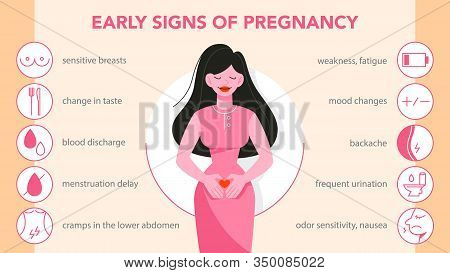 First Symptoms Of Pregnancy Infographic. Weakness And Backache