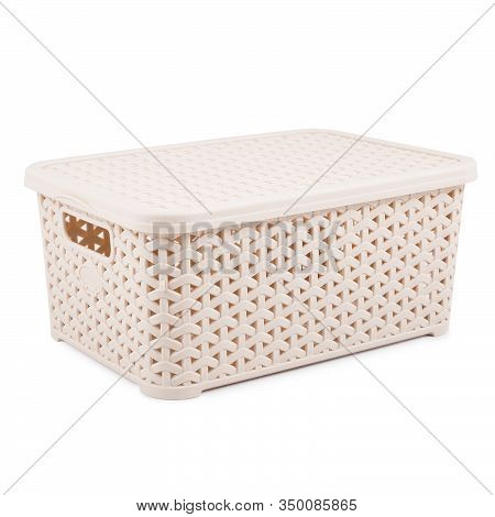 Beige Artificial Rattan Wicker Basket With Lid Side View Isolated On White Background