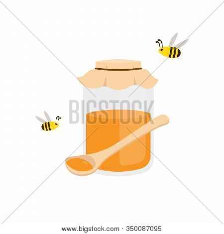 Honey Jar, Spoon And Cute Bees. Flat Vector Cartoon Illustration Isolated White Background.