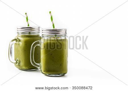 Healthy Green Smoothie With Spinach,mint, Kiwi, Ginger And Green Apple Isolated On White Background.