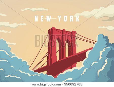 Brooklyn Bridge In New York In Usa Postcard Vector Template. Bridge In Sunset With Clouds Or Fog Bel