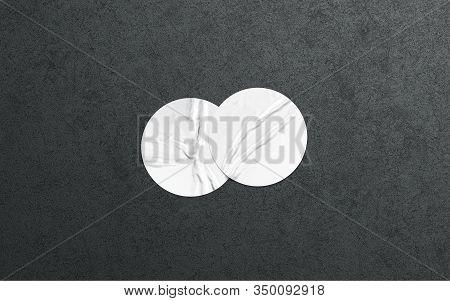 Blank Two White Round Adhesive Sticker Mockup On Dark Textured Wall, 3d Rendering. Empty Circlular G