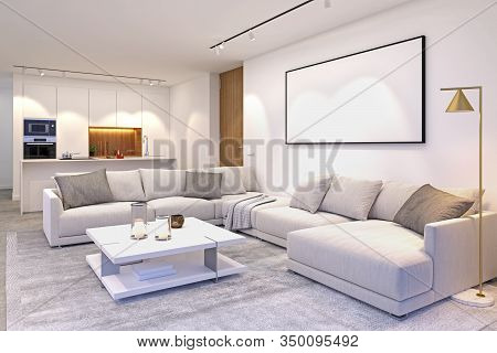 Interior Scene Of Modern House Space Integrating Living Room And Kitchen In Grey And White Colours S