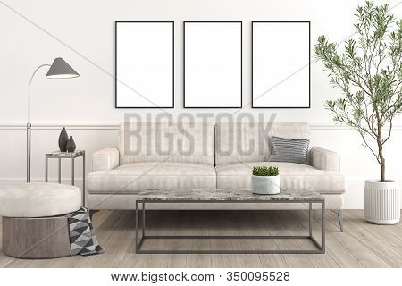 Interior Design Setup Of Modern Elegant Living-room Consisting Of Leather Couch And Puff, Coffe Tabl