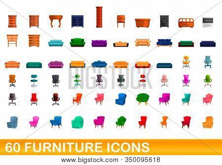60 Furniture Icons Set. Cartoon Illustration Of 60 Furniture Icons Vector Set Isolated On White Back