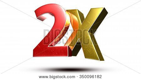 3d Illustration 2x Red Gold Isolated On A White Background.(with Clipping Path).