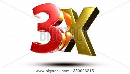 3d Illustration 3x Red Gold Isolated On A White Background.(with Clipping Path).