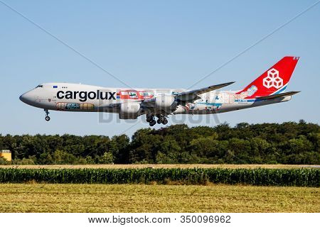 Findel - Luxembourg / July 8, 2018: Cargolux Special Livery Boeing 747-8 Jumbo Jet Lx-vcm Cargo Plan