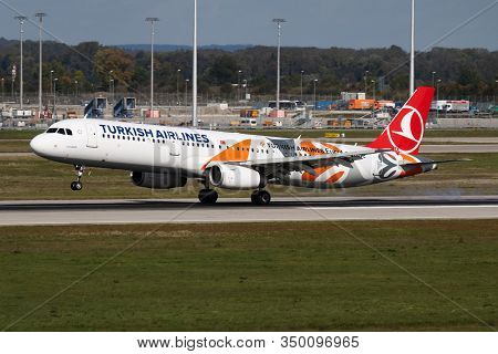 Munich / Germany - October 4, 2017: Turkish Airlines Special Livery Airbus A321 Tc-jro Passenger Pla