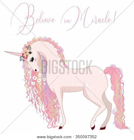 Beautiful Pink Unicorn With Curly Pink Mane