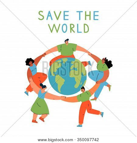 Group Of Different Young Women And Man Dancing Around The Earth Globe, Holding Hands.eco And Environ