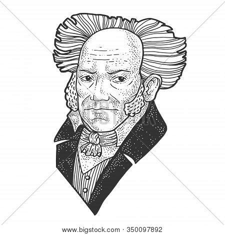 Arthur Schopenhauer Portrait Sketch Engraving Vector Illustration. T-shirt Apparel Print Design. Scr
