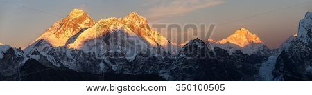 Evening Sunset View Of Mount Everest Lhotse And Makalu From Renjo Pass. Three Passes And Mt Everest