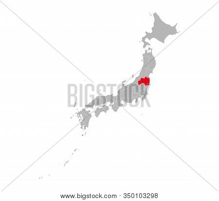 Fukushima Province Highlighted On Japan Political Map. Gray Background. Perfect For Business Concept